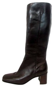 Caress A Knee High Block Heel Leather Zip Up Dark Brown Boots
