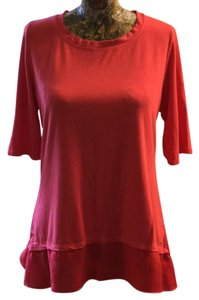 Barbara Lesser Stretchy Ruffle T Shirt pink