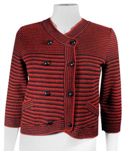 Chanel 2015 Cardigan Striped Spring Red Jacket