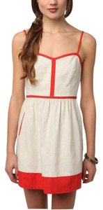 Urban Outfitters short dress BEIGE & ORANGE Summer Cope Linen Color-blocking & on Tradesy