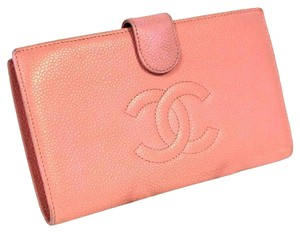 Chanel Chanel Caviar PINK Ed. Bifold Long Check Wallet 6 Credit Card Slot