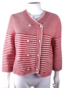 Chanel Pearl 2014 Cardigan Logo Striped Red Jacket
