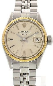 Rolex Ladies Vintage Rolex Date 18k Yg Bezel Ss Watch 6517