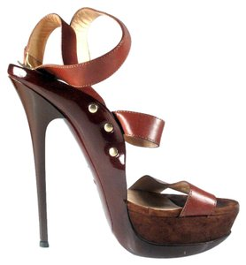 Jimmy Choo Leather Patent Halley Brown Platforms
