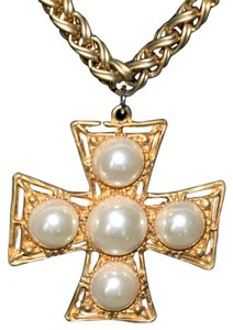 Other Vintage Necklace Large Brushed Gold Cross With Pearls
