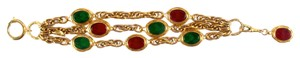 Chanel BRACELET GRIPOIX GLASS VINTAGE GOLD MULTISTRAND GREEN RED CHAIN CHARM