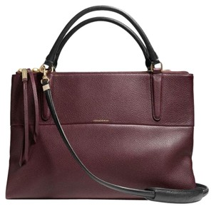 Coach Satchel in Black / Oxblood