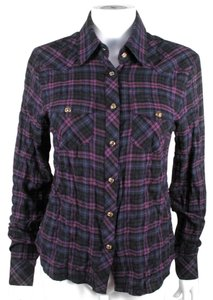 Chrome Hearts Sterling Silver Leather Cross Plaid Button Down Shirt Purple