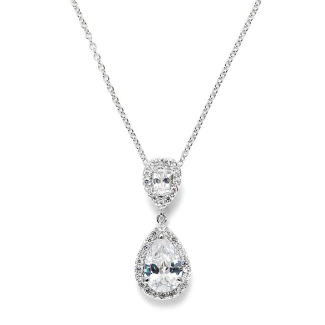 Mariell Silver Cubic Zirconia Pendant with Framed Pear 3755n Necklace Mariell Silver Cubic Zirconia Pendant with Framed Pear 3755n Necklace Image 1