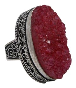 Regal Red Agate Druzy Gemstone in 925 Silver Size 8 w Free Shipping