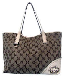 Gucci Canvas Leather Tote Khaki Shoulder Bag