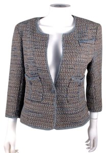 Chanel Denim Tweed Wool Brown Blue Jacket