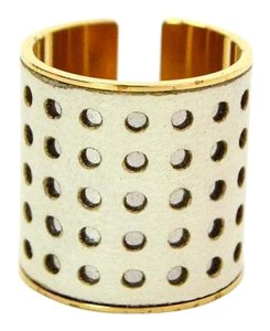 Louis Vuitton Louis Vuitton Leather and Goldtone Perforated Ring Sz 9