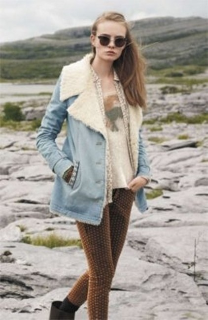 Free People Embroidered Sherpa Faux-fur Lined Faux-fur Collar Fur Coat