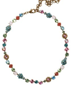 Sorrelli Classic Crystal Floral Happy Birthday Necklace. NBE2AGHB