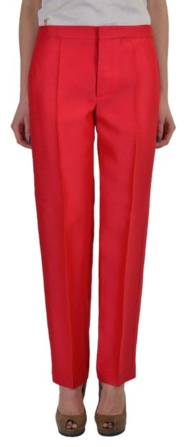 Item - Red Wool Silk Flat Front Casual Pants Size 4 (S, 27)