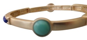 Chico's CHICO'S Stretch Matte Gold Bracelet with Blue Studs & Turquoise NEW