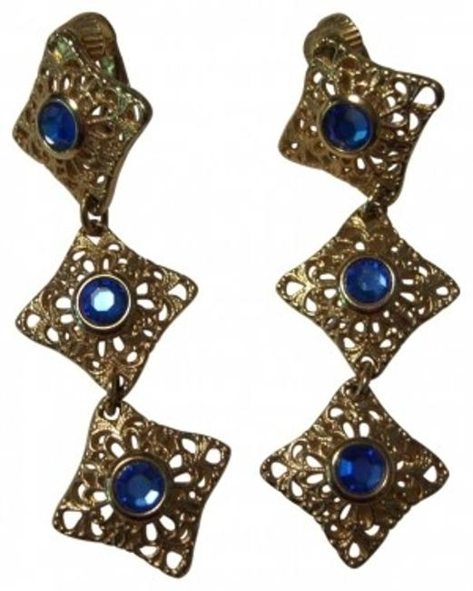Item - Blue and Gold Vintage Dangle with Stone Earrings