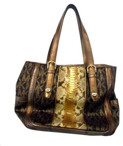 Michael Kors Signature Snake Embossed Leather Shoulder Bag