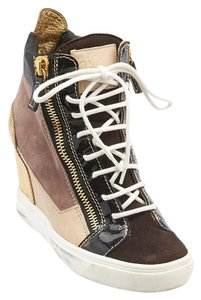Giuseppe Zanotti Paneled Wedge Sneakers Size 37.5 Multi-Color Athletic