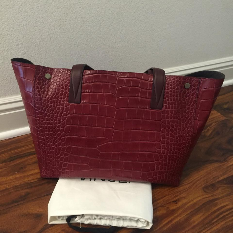 cf27d8aed977 Well-liked Vince Signature V Crocodile Embossed Oxblood Leather Tote -  Tradesy KU51
