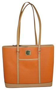 Dooney & Bourke Leather Tote in Coral Orange