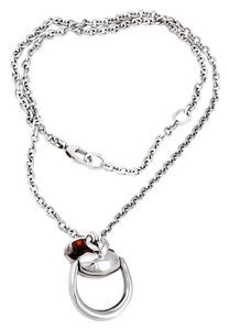 Gucci Gucci Silver and Wood Horsebit Necklace