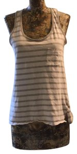 Color Thread Racer-back Striped Top white and gray