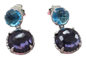 David Yurman Chatelaine Double Drop Hampton Blue Topaz/Black Orchid SS Earrings
