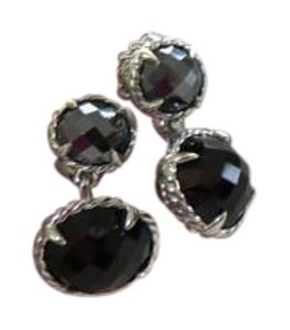 David Yurman Chatelaine Double Drop Hematine/Black Onyx SS Earrings