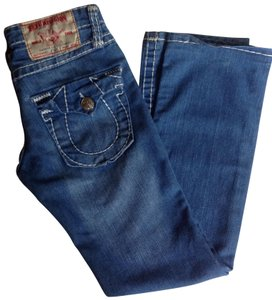 True Religion No Alteration Wide Whipped Stitch Straight Leg Jeans-Light Wash