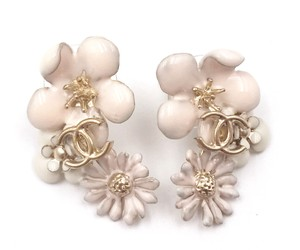 Chanel Chanel Ivory Flowers Gold CC Piercing Earrings