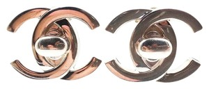 Chanel Chanel Silver CC Turnlock Large Clip on Earrings