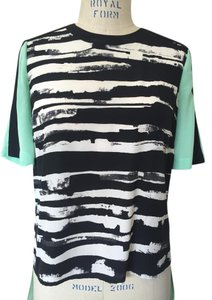 BCBGMAXAZRIA High Low White Silk Teal Top black