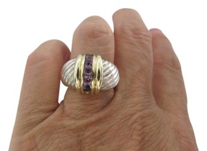 David Yurman SS/14k Sculpted Cable Dome with Lavender Amethyst, 7.5