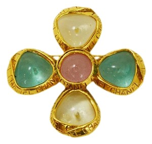 Chanel Chanel Vintage '96 Maltese Cross Gold & Gripoix Brooch