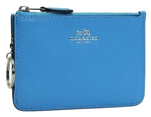 Coach Pebbled Leather Key Pouch - Coin Purse - in Azure Blue