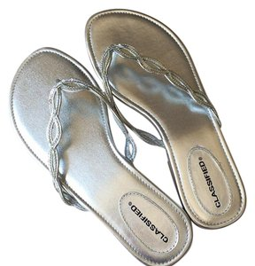 Classified Slippers Flip Flops Silver Sandals