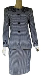 John Meyer of Norwich JOHN MEYER Black White Houndstooth Career Skirt Suit 8