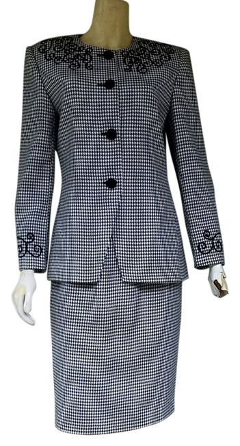 Item - Black and White Houndstooth Career Skirt Suit Size 8 (M)