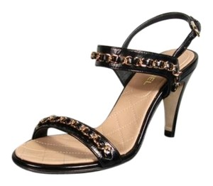 Chanel New Crumbled Leather Black Sandals