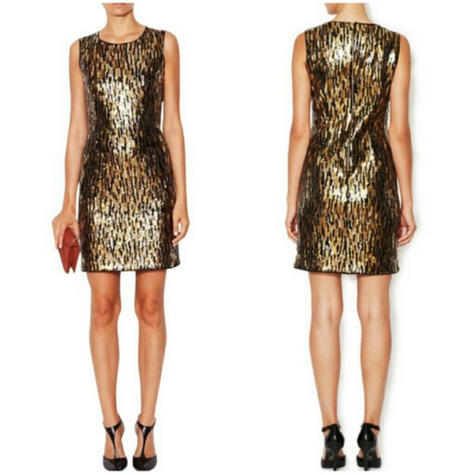 55ab2376 Shoshanna Black and Gold Karen Sequin Sheath Above Knee Cocktail Dress Size  10 (M) - Tradesy