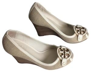 Tory Burch Natural White Wedges