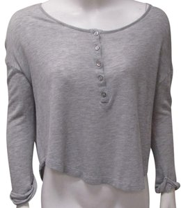 Patterson J. Kincaid J Henley Tee Cropped Top Gray