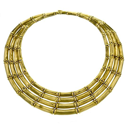 Cartier Vintage Cartier 4-row Bamboo Choker Necklace in 18k Yellow Gold Image 5