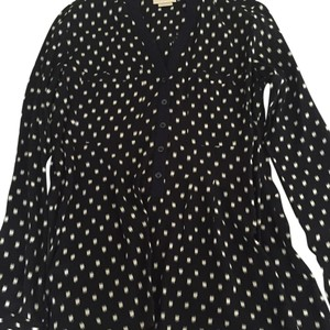 Anthropologie Top Black with white spots.