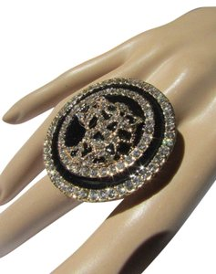 New Women Ring Gold Metal Shiny Rhinestones Panther Head One Size