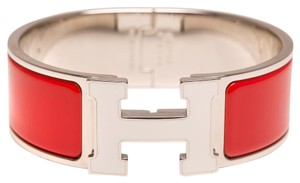 Hermès Hermes Red on White Enamel H Clic Clac Wide Enamel Bracelet PM