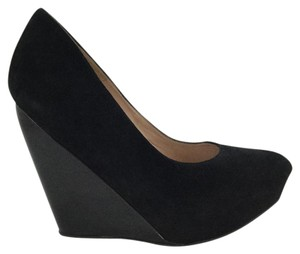 Pura Lopez Platform Suede And Patent Black Wedges