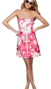 Lilly Pulitzer short dress Pink & White Front Zipper Strapless Cherry on Tradesy